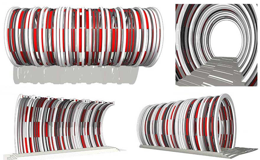 Projets prototypes d'une grande arche menuisée.