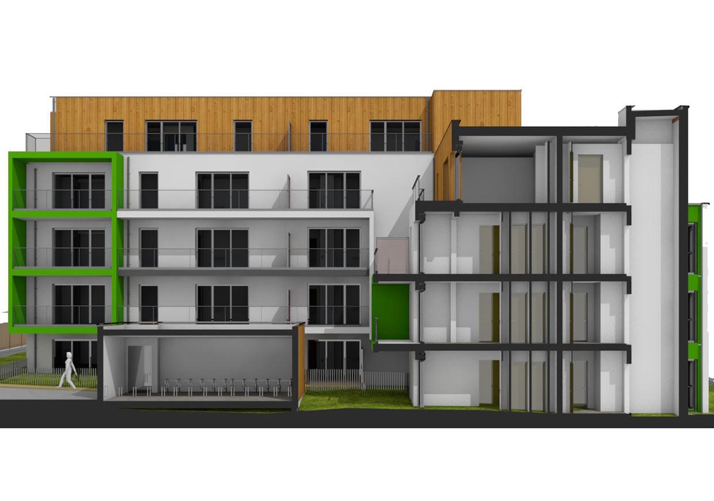 Coupe 3D transversale du bâtiment.