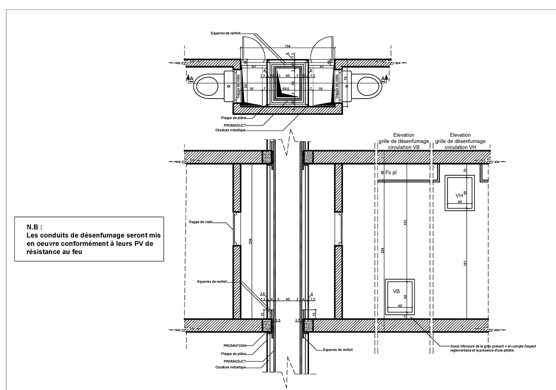Détail de gaine technique du projet de la résidence.