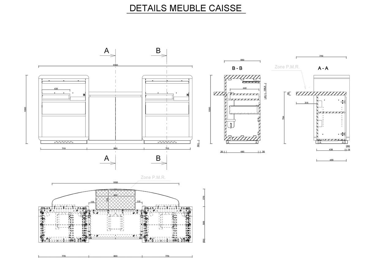 Détail de mobilier - Guichet PMR.