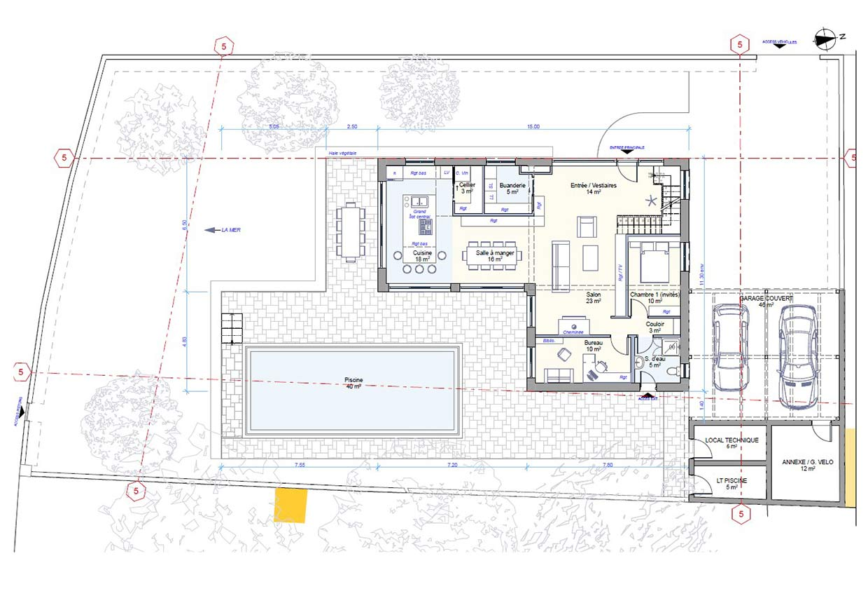 Plan APS du rez de chaussée du projet de la maison.