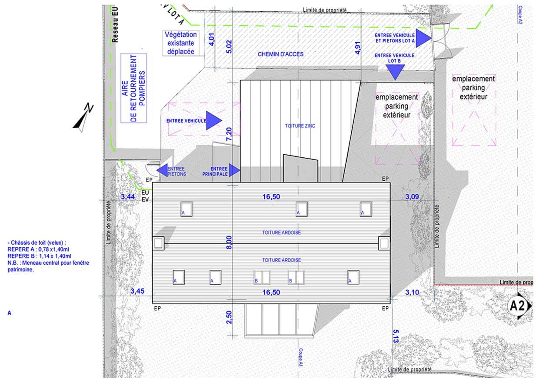 Plan de toiture du pavillon.