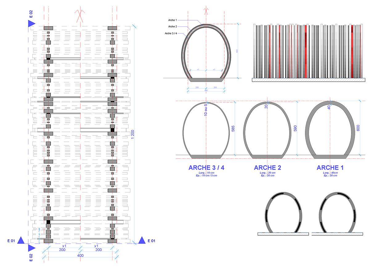 Dessinateur projeteur de détail, plan, et coupe technique des modules arches.